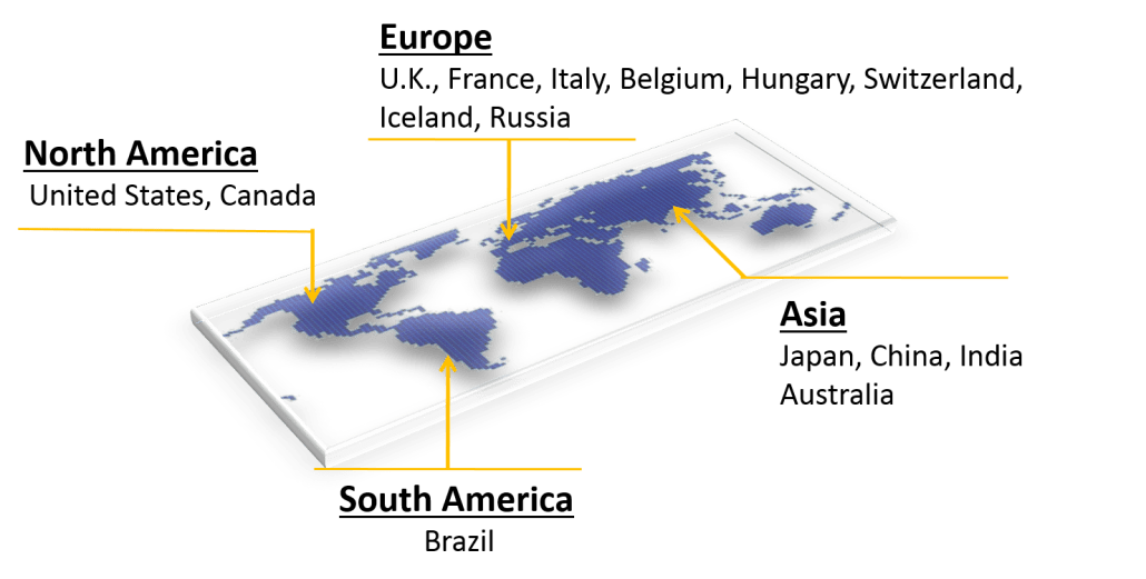 World map with country names where UXPRESS has project experience; USA, Canada, U.K., France, Italy, Belgium, Hungary, Switzerland, Iceland, Russia, Brazil, Japan, China, India, Australia