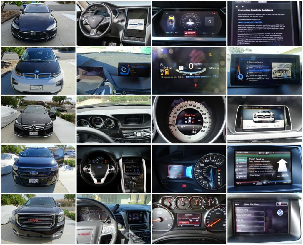A collage with UI of car dashboards